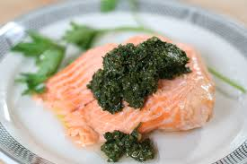 poached salmon with salsa verde cooking with drew
