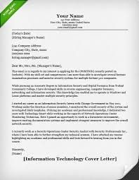 security cover letter sles information technology it cover letter resume genius