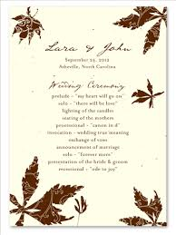 wedding programs paper fall wedding programs on seeded paper falling leaves by