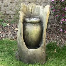 water fountain tree stump pot for outdoor backyard garden with led