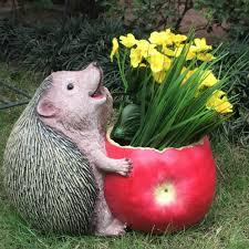 animal planter fat hedgehog eating apple flower pot garden planter pots garden