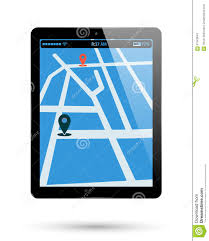Map Pad Tablet Map Location Stock Vector Image 67463643
