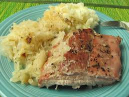 pork spare ribs and sauerkraut in oven