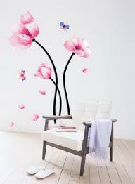 amazon com pink magnolia flowers wall stickers diy mural art