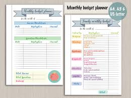 Monthly Budget Planner Spreadsheet Budget Planner Printable Template Digital Pdf Bujo Bullet