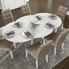 etending round glass dining table furnitures gallery in white