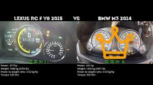 lexus rc in uae lexus rc f v8 2015 vs bmw m3 2014 0 100 km h youtube