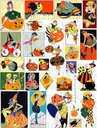 vintage halloween images clip art collage sheet halloween art deco vintage download digital