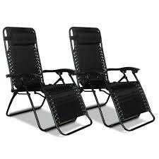 Reclining Gravity Chair Zero Gravity Recliner Black 2 Pack Caravan Canopy 80009000052