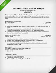Experience On A Resume Personal Trainer Resume Sample And Writing Guide Rg