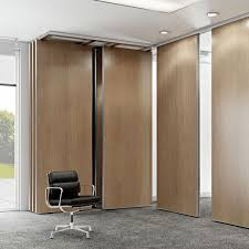 Rolling Room Divider Pivoting Sliding Partition Wooden Professional Soundproofed