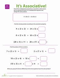 properties of multiplication associative worksheet education com