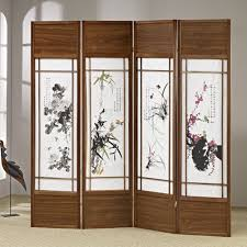 chinese room divider 4 folding screen panels divider walnut frame chinese floral print
