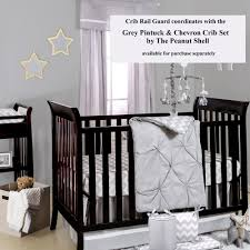 grey zig zag 100 cotton padded crib rail teething guard by the