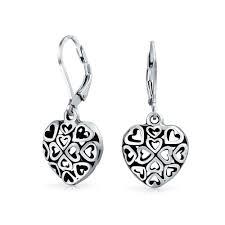 925 silver filligree cutout puffed heart leverback dangle earrings