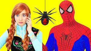 spiderman saves frozen anna hulk afraid spider