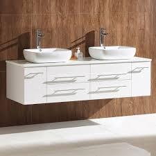 bellezza modern double vessel sink cabinet white with top and