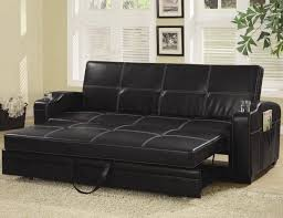 Pull Out Sleeper Sofa Black Leather Pull Out Sleeper Sofa With Glass Holder On Armrest