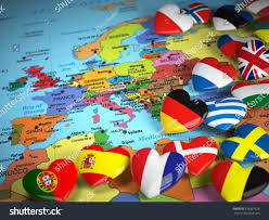 Europe Countries Map by Travel Eu Concept Map Europe Hearts Stock Illustration 376801528