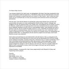 personal letters of recommendation personal letter of