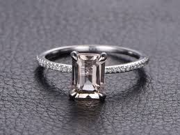 thin band engagement ring emerald cut morganite ring morganite engagement ring emerald cut