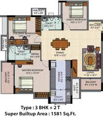 3 Bhk Apartment Floor Plan by 1581 Sq Ft 3 Bhk 2t Apartment For Sale In Salarpuria Sattva Group