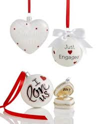 white glass just engaged 2017 ornament