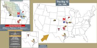 Map Of Oklahoma State by Ncaa Fb Big 12 Billsportsmaps Com