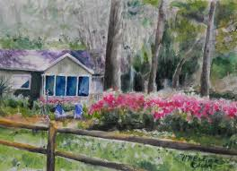 Painting Of House by Original Watercolor Painting Of A House And Azalea Bushes In