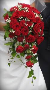 Silk Wedding Bouquet Red Spray Rose Bouquet Jenna Sirken I Love This Waterfall Look