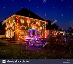 Christmas Lights House by Detached House Covered In Christmas Lights Stock Photo Royalty