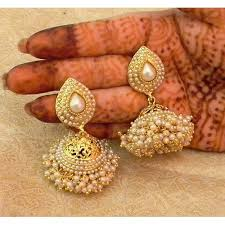 jhumka earrings online buy white pearl gold plated wedding bandani jhumka earrings online
