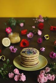 pancake stories pancakes with edible flowers and homemade lemon curd
