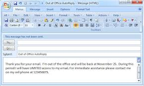 set out of office auto reply in outlook 2003 2007 2010 2013