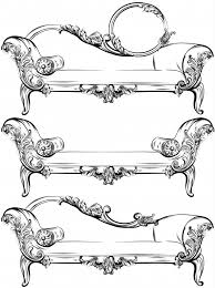 sofa or bench set collection with rich baroque ornaments elements