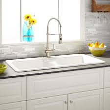 sinks stainless steel faucet white marble countertop white tile