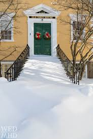 Snow At Home by Snow Covered Steps At Old Town House Marblehead Ma