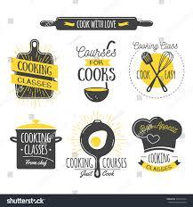 cooking class vintage design elements kitchen stock vector