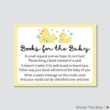 baby shower bring book instead of card rubber ducky baby shower printable bring a book instead of a card