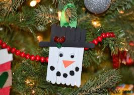 popsicle stick snowman ornament craft somewhat simple