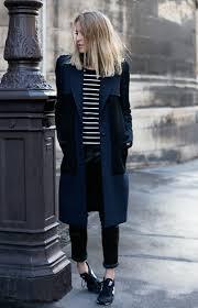 women u0027s navy coat black and white horizontal striped crew neck t