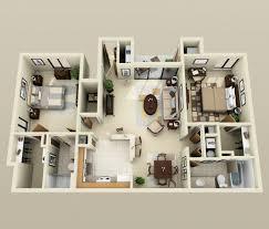 les 3 chambres 50 plans 3d d appartement avec 2 chambres