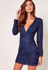 blue bodycon dress navy lace plunge bodycon dress missguided