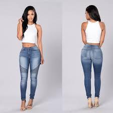 light blue skinny jeans womens jeans women pencil jeans high waist pants slim elastic skinny