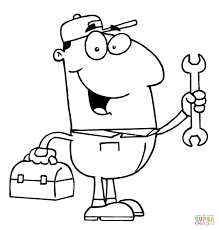 a business man with a cell phone and a briefcase coloring page