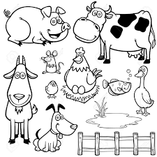 outlined cute cartoon farm animals for coloring book