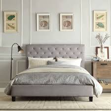 Fabric Platform Bed Queen Size Gray Linen Upholstered Platform Bed With Button Tufted