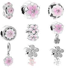 free charm bracelet images Free shipping 1pc european spring light pink magnolia flower bead jpg