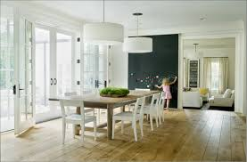 Long White Dining Table by Soft Wall Paint For Kitchen And Dining Room With Modern Dining