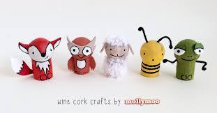 mollymoocrafts wine cork crafts set of five animals
